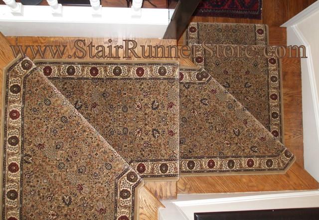 Pie Step Stair Runner Installation Traditional