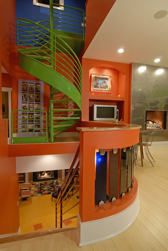 Staircase - eclectic staircase idea in Charlotte