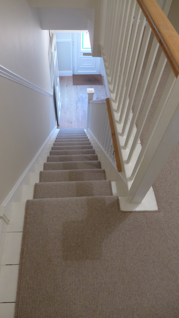 Contemporary Stair Carpet : plain stair carpet runner leading to engineered oak hall contemporary ...