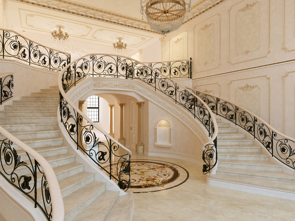 Inspiration for a timeless curved staircase remodel in New York