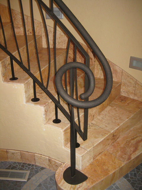 Powder Coated Railing System Eclectic Staircase