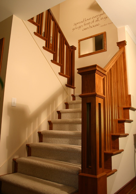 Prairie Style Ranch Remodel: Staircase and Railing Detail craftsman-staircase