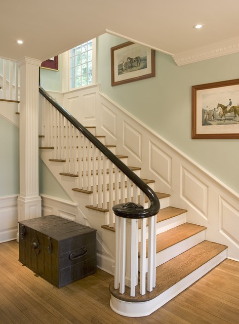 Superieur Example Of A Classic Wooden L Shaped Staircase Design In New York
