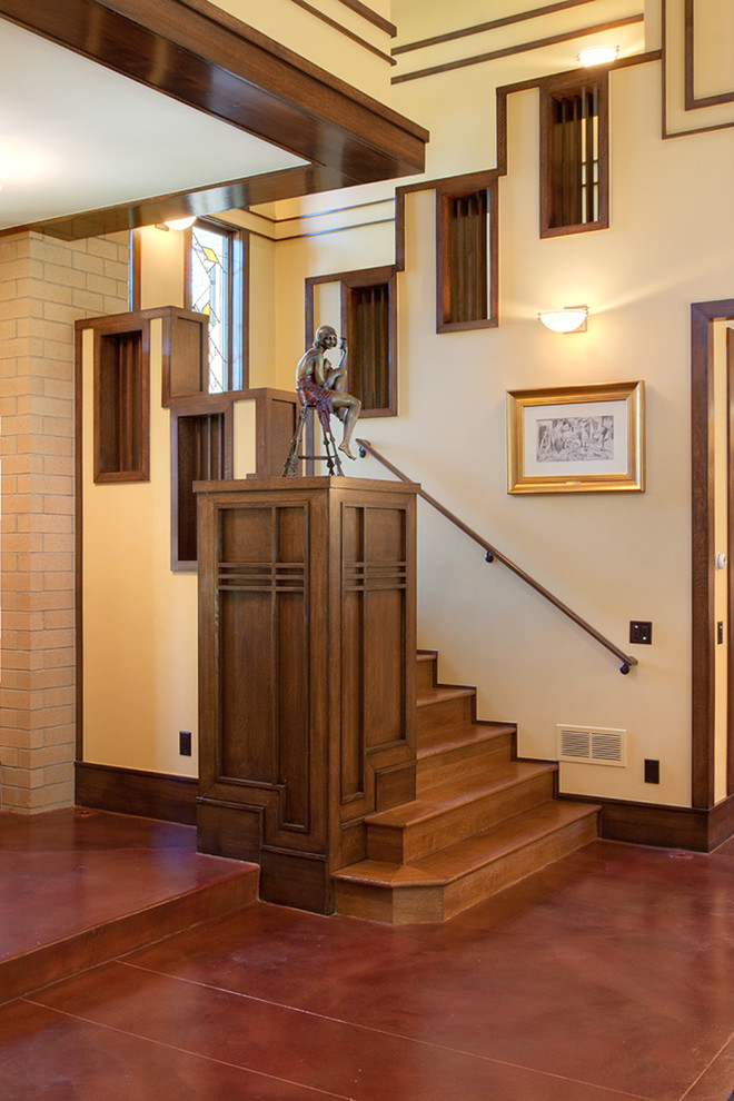 Staircase - craftsman wooden staircase idea in Denver with wooden risers