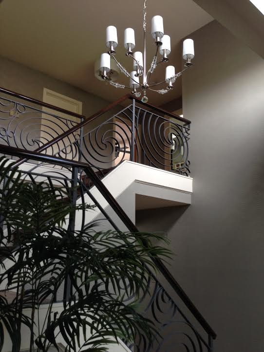 Inspiration for a large transitional u-shaped metal railing staircase remodel in Philadelphia
