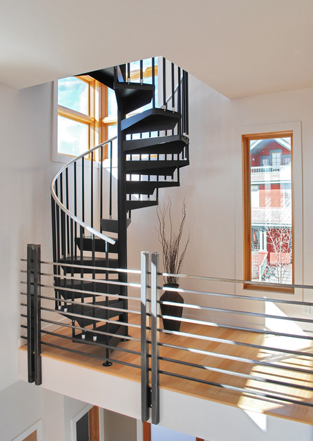 Prospect courtyard duplex modern staircase denver for Duplex house designs in india interior staircase
