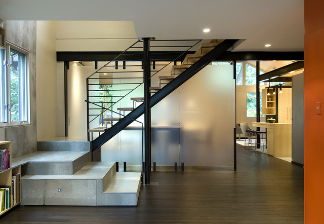 Q place contemporary staircase dc metro by kube for Enclosed staircase design