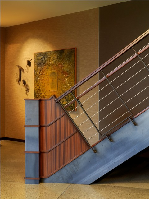 Quaker Bluff Residence industrial-staircase
