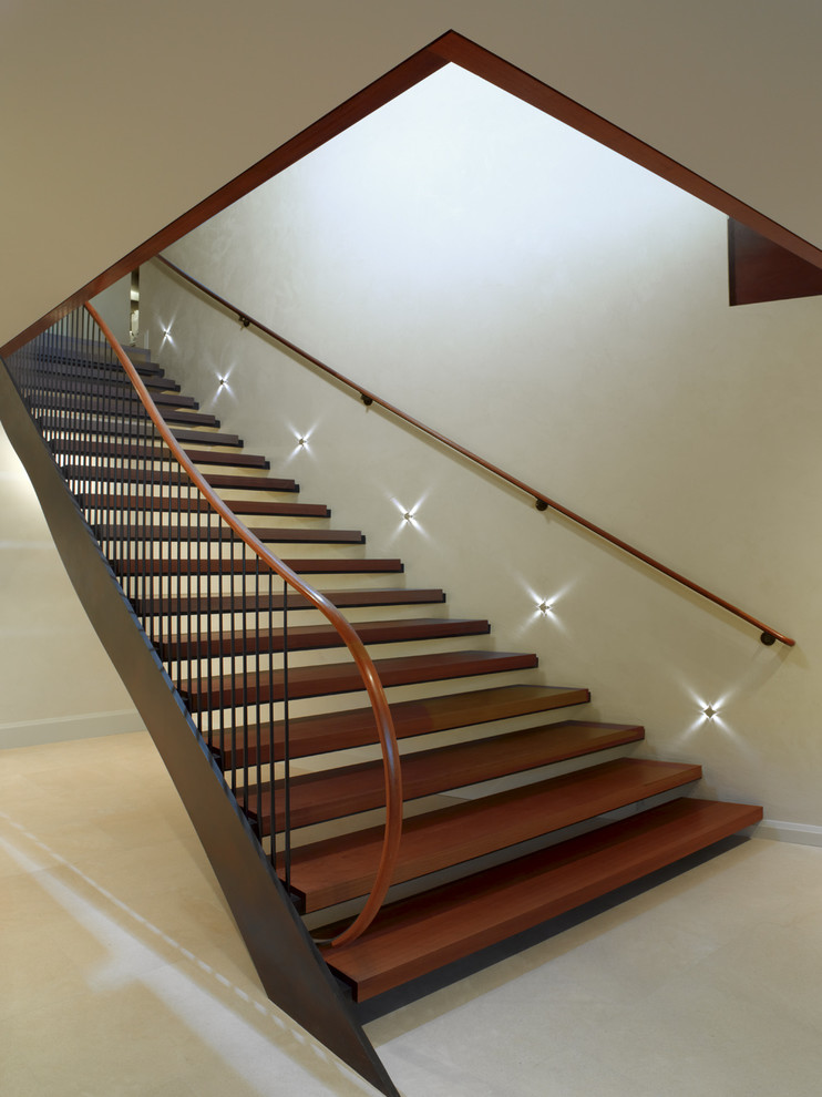 Trendy wooden straight open staircase photo in San Francisco