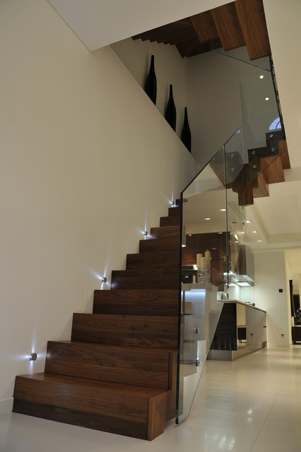 Queens Gardens - Staircase with glass balustrade contemporary-staircase