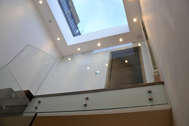 Queens Gardens - Staircase with glass balustrade modern-staircase