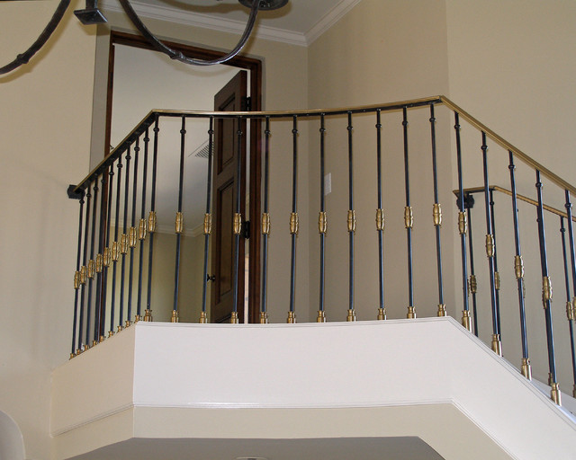 Railing With Bronze Cap And Brass Collars Contemporary
