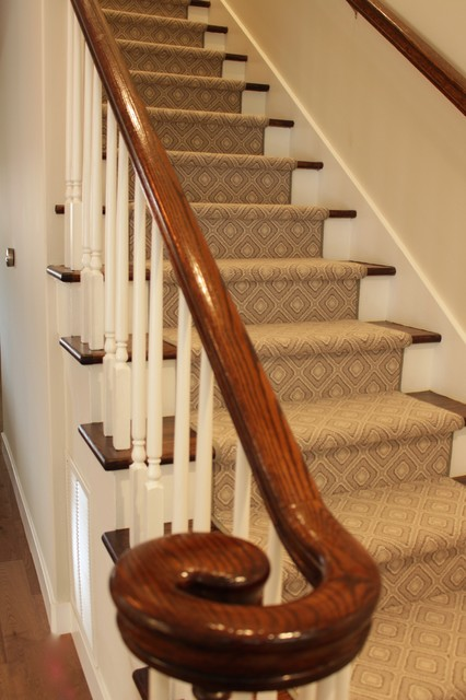 Staircase - large transitional wooden straight staircase idea in San Francisco with painted risers