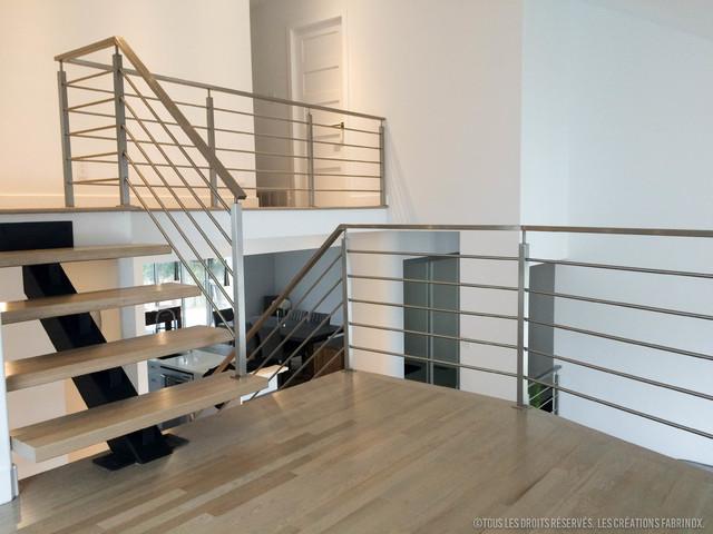 Rampes en acier inox et escalier limon central inox steel ramps and stair - Rampe escalier cable acier ...