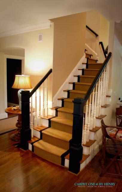 Houzz Foyer Rug : Rear staircase custom foyer rug stair runner