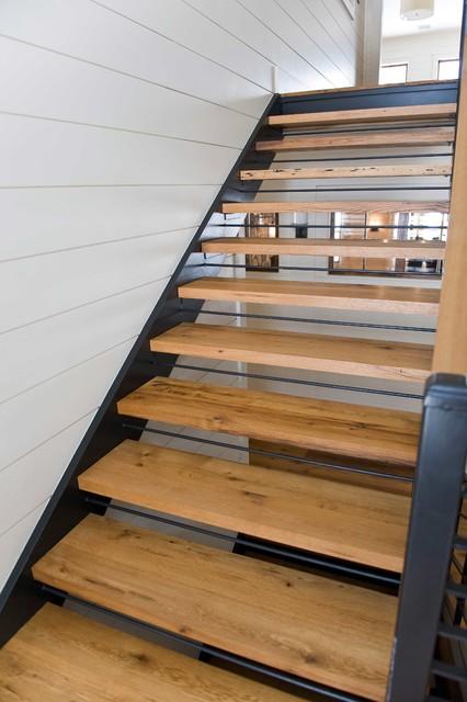 Reclaimed white oak stair treads staircase portland for Reclaimed wood flooring portland