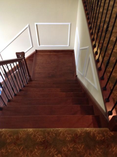 Refinish of Rail & Stairs w/Satin Black Iron Balusters - Medford, NJ
