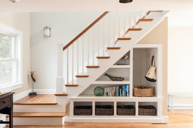Beach Style Wooden Staircase Idea In Boston