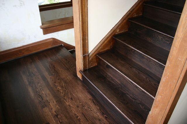 Replacment old Douglas Fir steps with naw Red Oak treads & risers - Traditional - Staircase ...