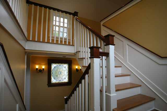Restored stained glass window farmhouse-staircase