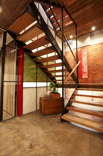 Staircase   Industrial Wooden U Shaped Open Staircase Idea In Melbourne