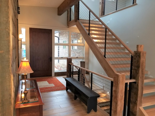 Inspiration for an eclectic staircase remodel in Cleveland