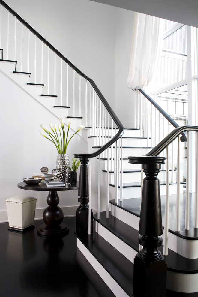 Inspiration for a transitional wooden staircase remodel in Boston
