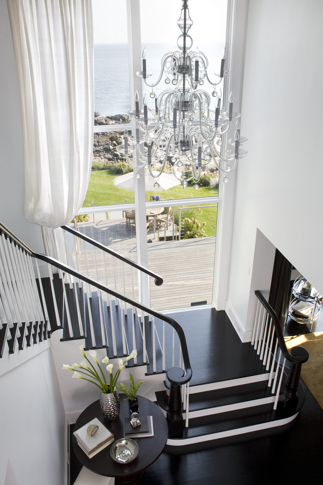 Transitional wooden staircase photo in Boston
