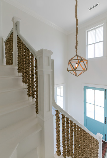 Rope Stair At Entry Blue Front Door Beach Style