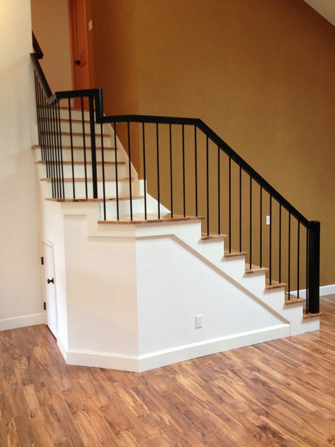Rustic Hickory Stairs Contemporary Staircase