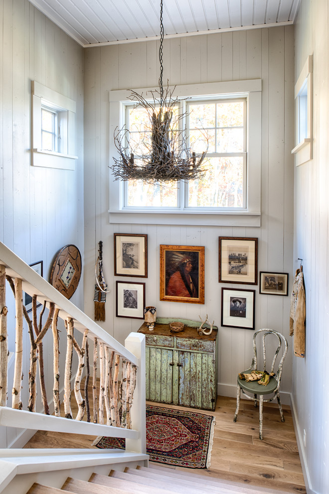 Example of a mountain style staircase design in Minneapolis