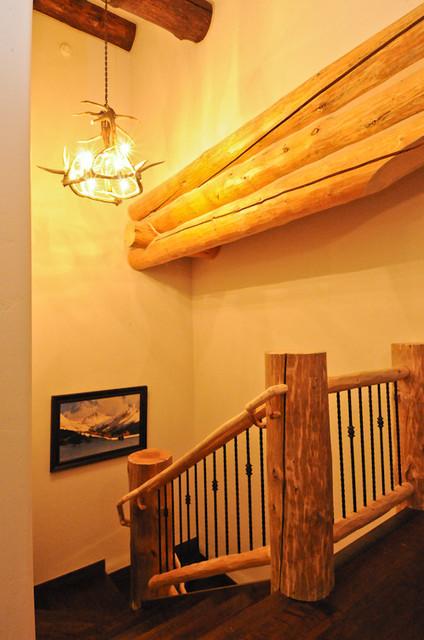 Rustic Log Cabin rustic-staircase