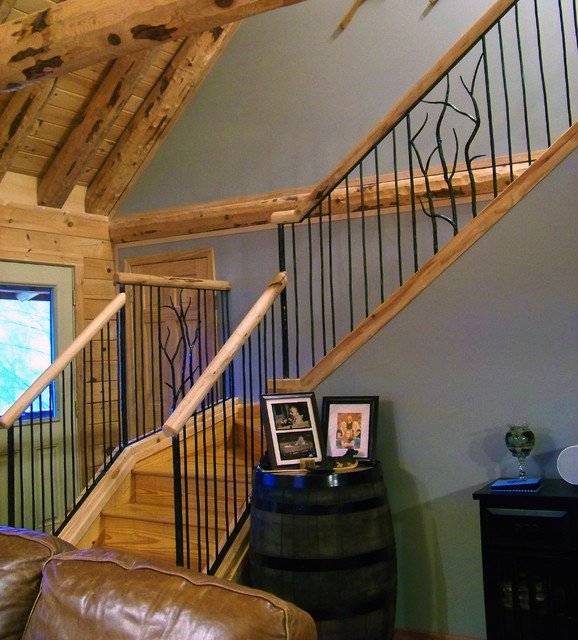 Log Railings Colorado ~ Rustic railing traditional staircase dc metro by