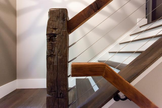 Rustic Stair Rail Detail Modern Staircase