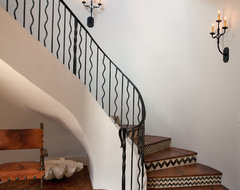 Cottage 52 Foyer & Stair Hall rustic-staircase