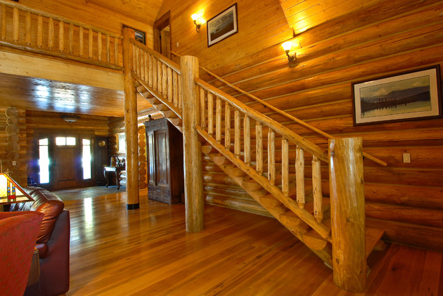 Log Railings Colorado ~ Sage creek canyon hybrid log home rustic staircase
