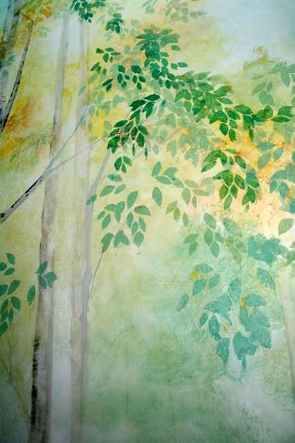San Francisco Hoist Way Birch Tree Mural modern-staircase