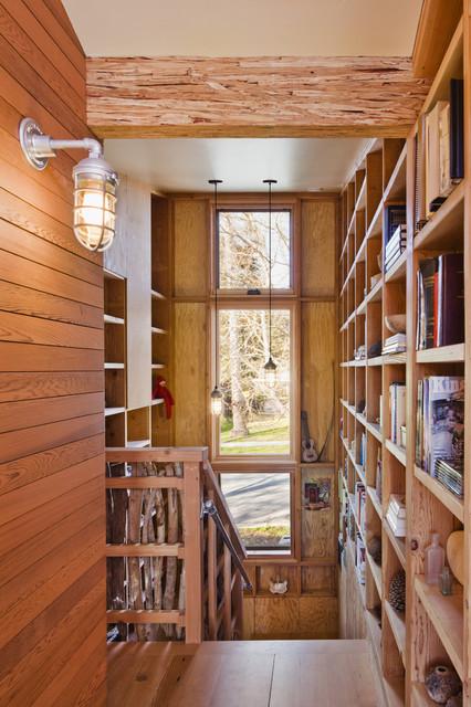 Santa Cruz Straw Bale House rustic-staircase