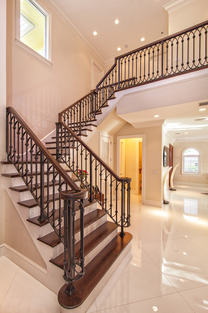 Sea Ranch Lakes Home transitional-staircase
