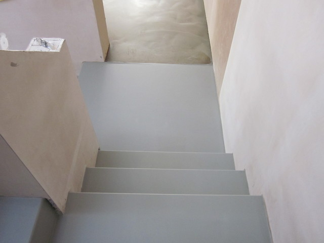 Seamless Polyurethane Resin Staircase Poured Flooring Comfort Floors North  East Contemporary Staircase
