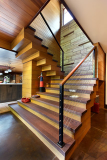 Serene City Dwelling Rustic Staircase Grand Rapids