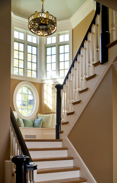 Shingle Style Stair Tower and Bench traditional staircase