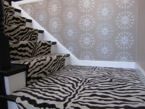 simply black and white eclectic staircase