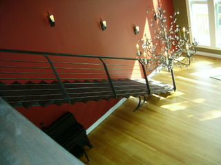 Single stringer staircase with horizontal railing - Contemporary - Entry - other metro - by ...