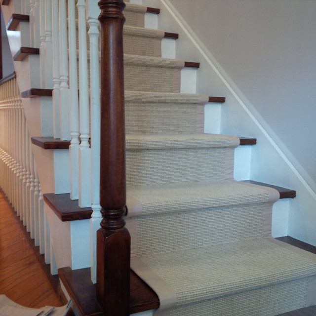 Sisal Carpet Runner For Stairs With Border Traditional