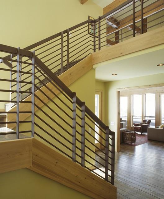 Ski House rustic-staircase