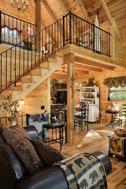 Small Cabin Rustic Staircase By Bear Creek Log Homes