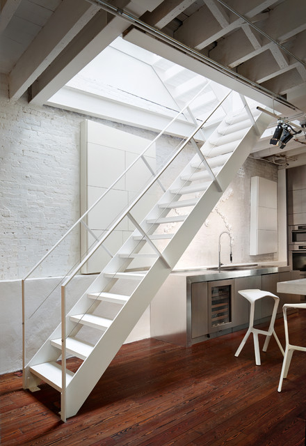 soho penthouse industrial staircase