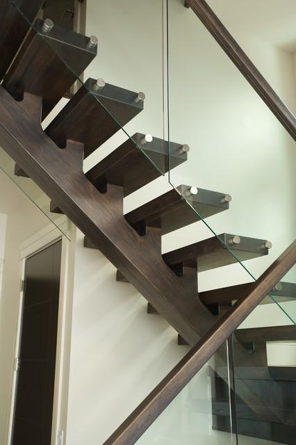 Solid White Oak Mono stringer Contemporary Staircase