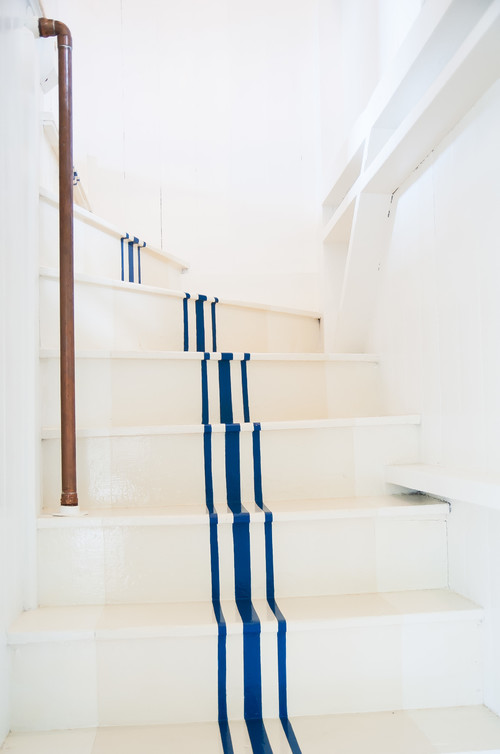 staircase with painted stripes